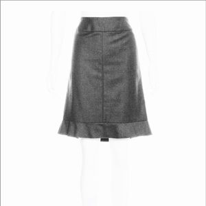 CHANEL Charcoal Gray Wool & Cashmere Skirt